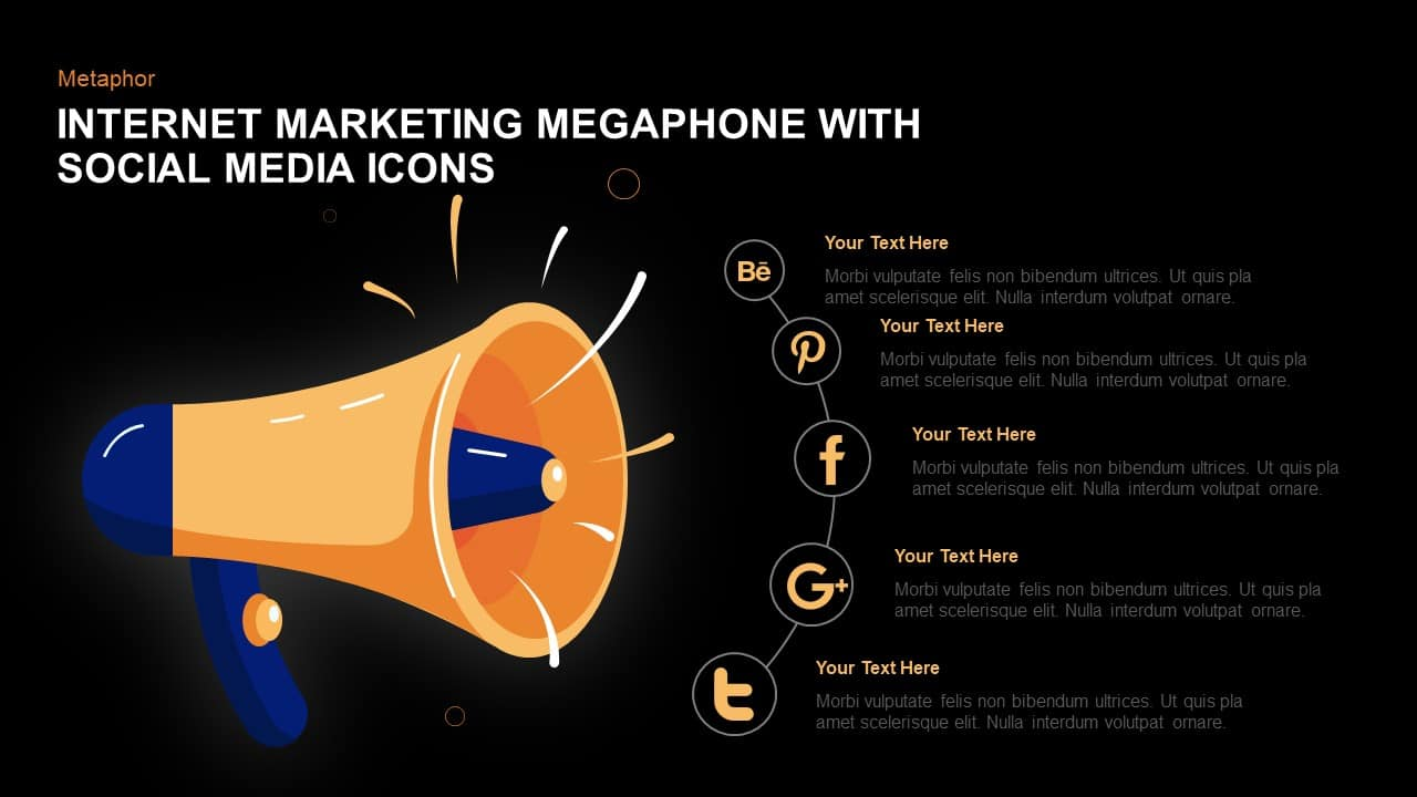 Digital Marketing Megaphone With Social Media Icons