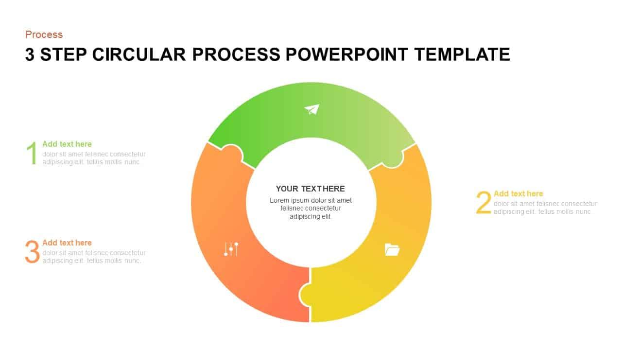 3 step circular process PowerPoint template