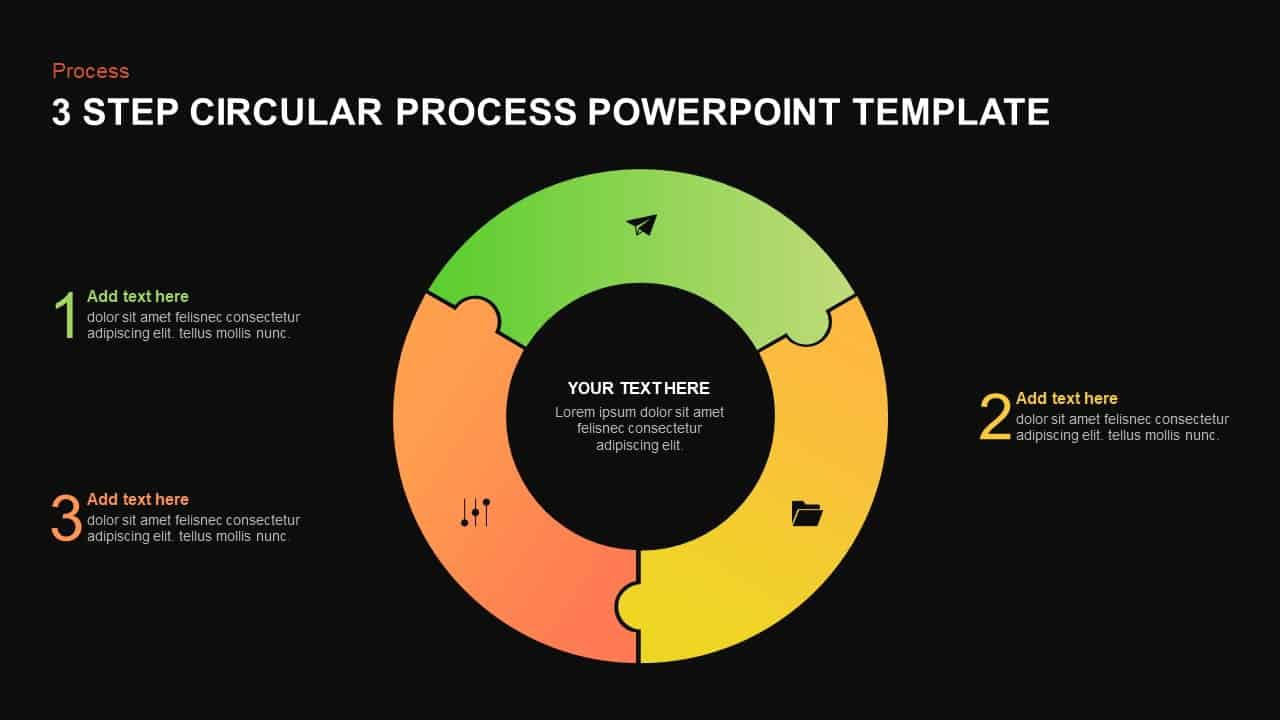 3 step circular process template for PowerPoint