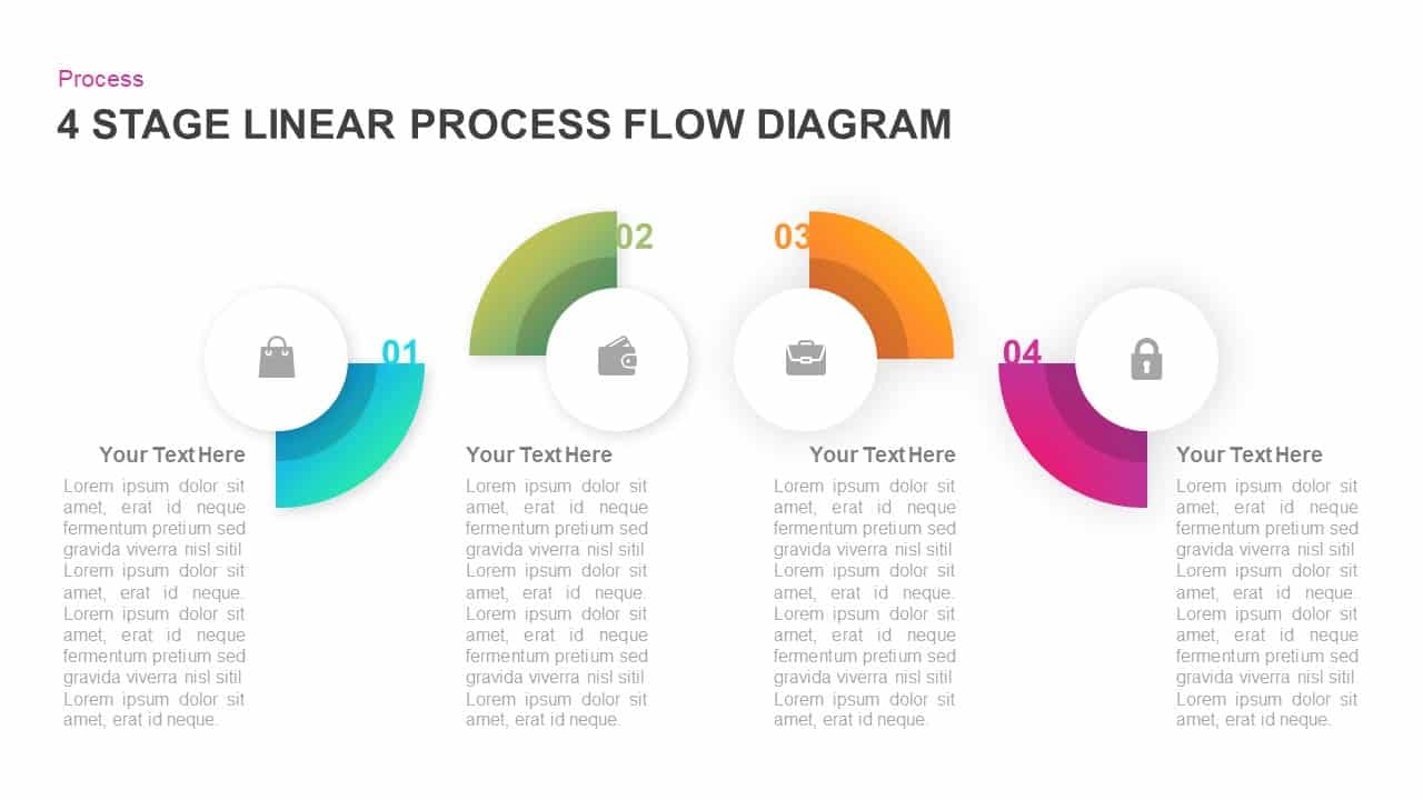 4 Stage Linear Process Flow Diagram for PowerPoint