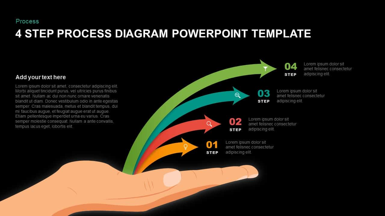 4 Step Process Diagram Template for PowerPoint