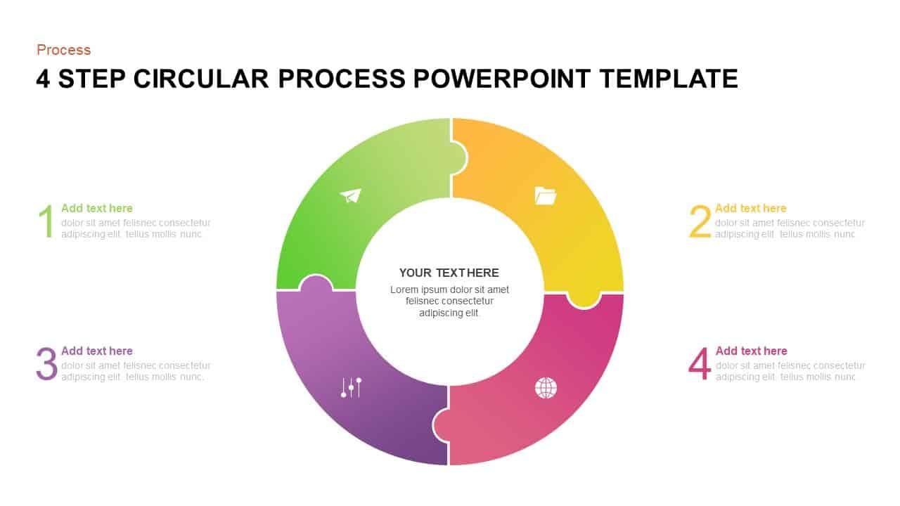 4 step circular process PowerPoint template