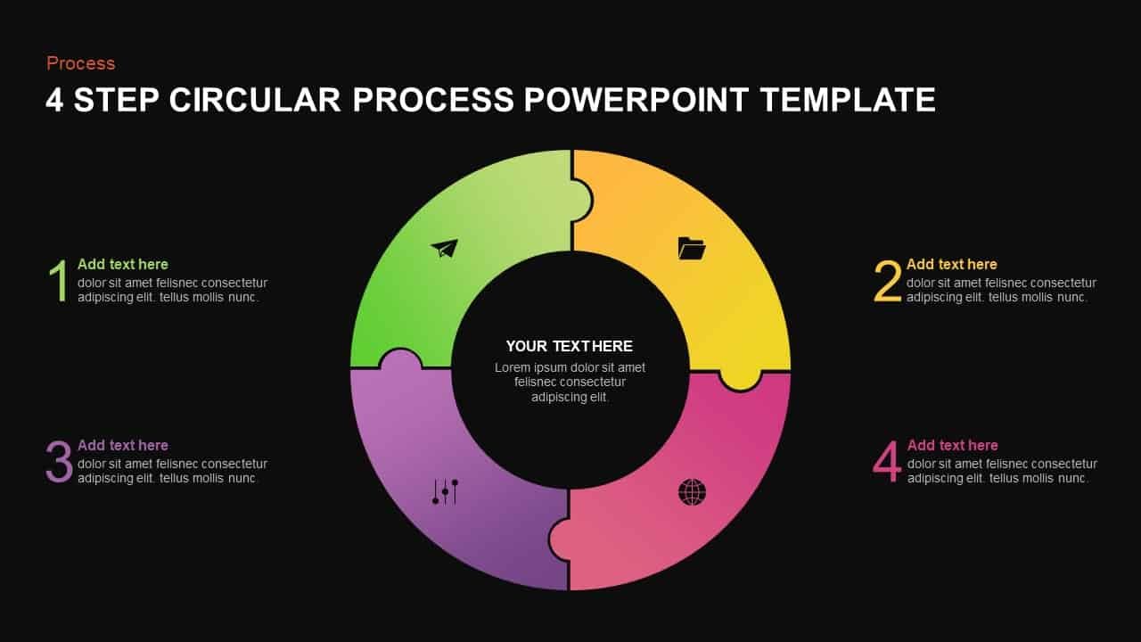 4 step circular process template for PowerPoint