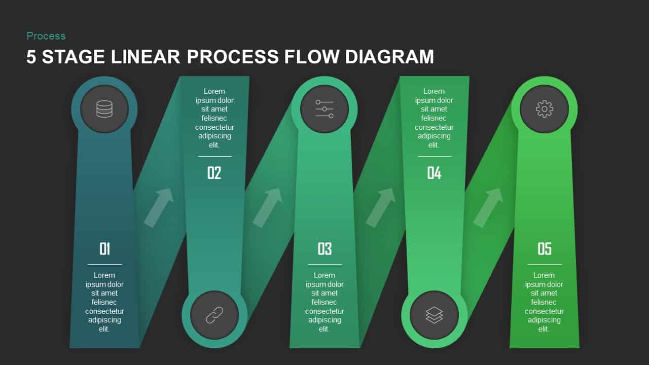 5 Stage Linear Process Flow Diagram PowerPoint Template