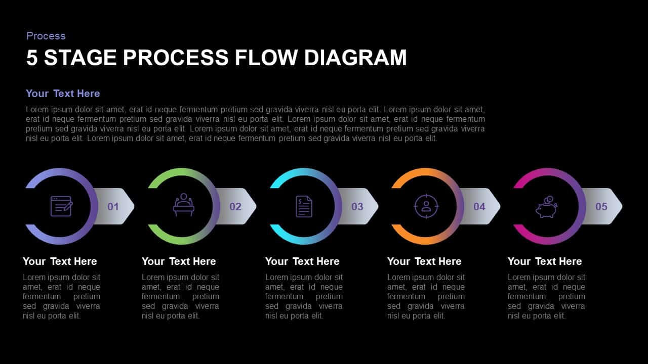 5 Stage Process Flow Diagram PowerPoint Template