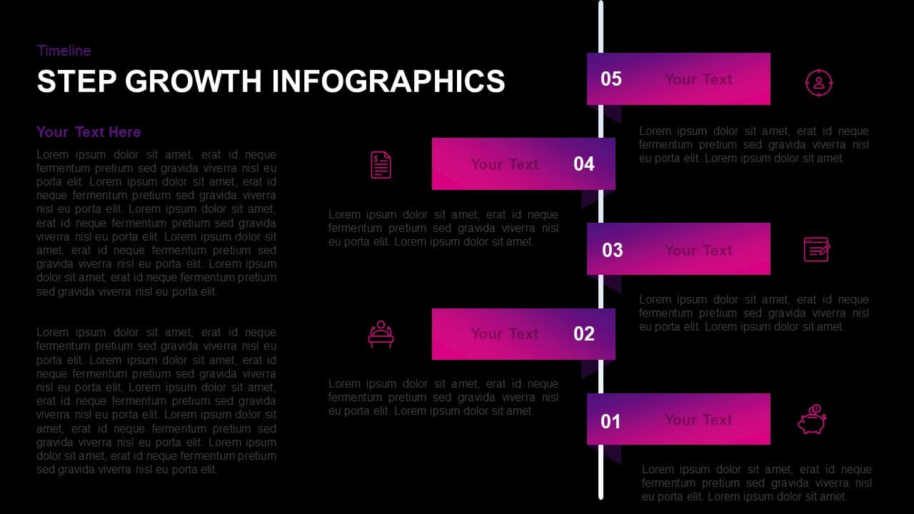 5 Step Infographic Growth PowerPoint Template