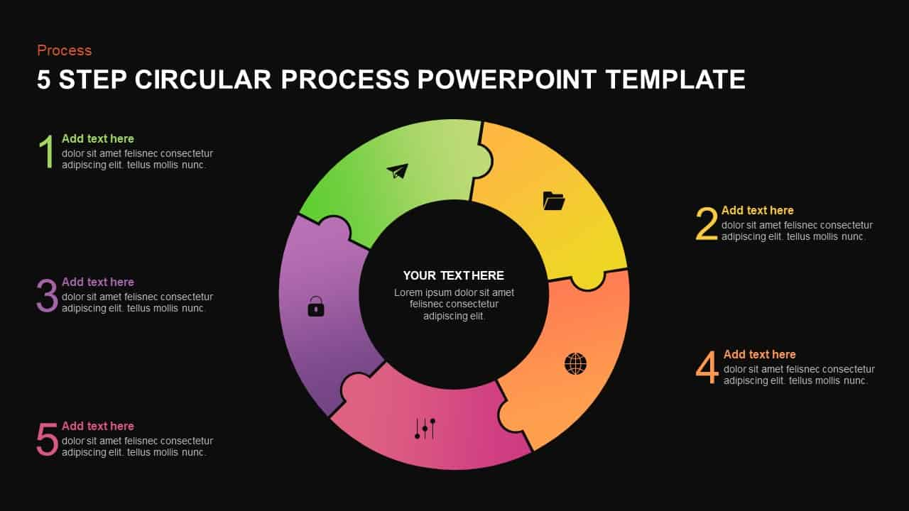 5 step circular process template for PowerPoint