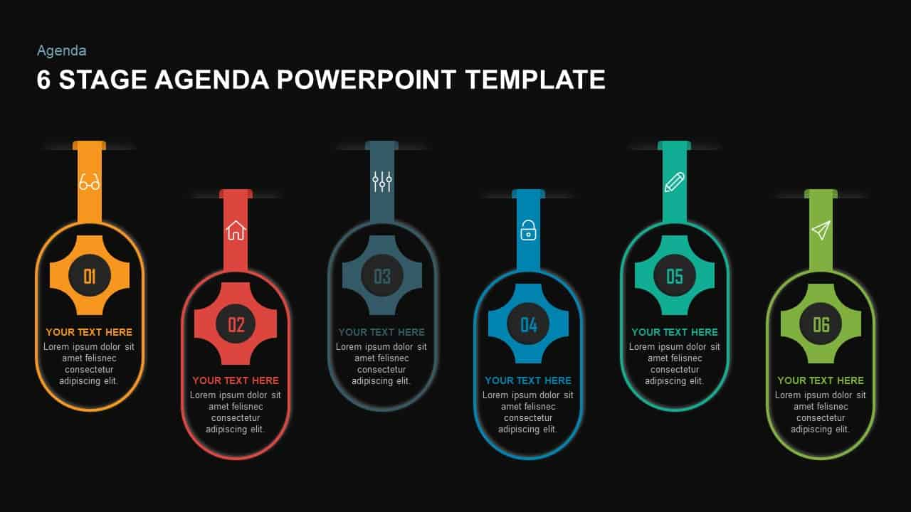 6 step agenda template for PowerPoint