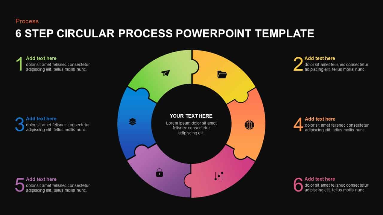 6 step circular process template for PowerPoint