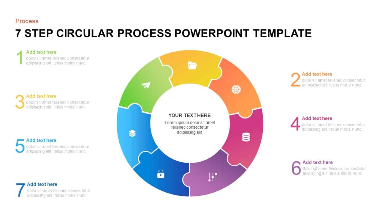 7 step circular process PowerPoint template