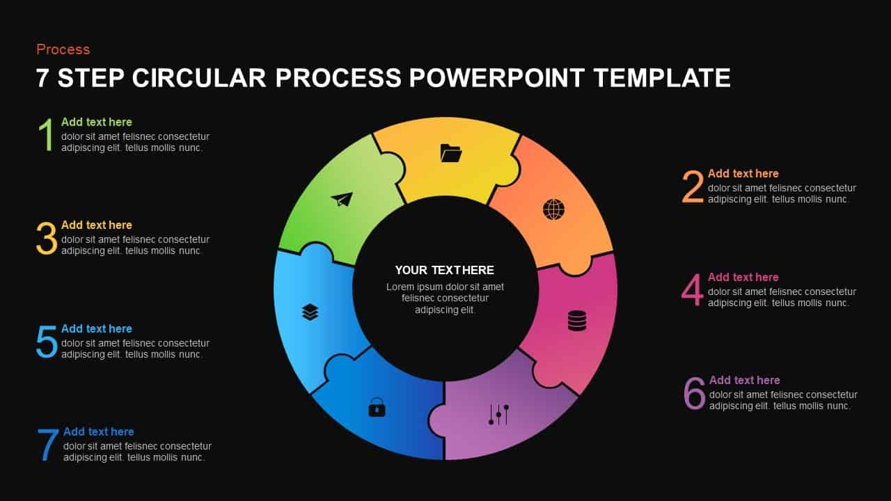 7 step circular process template for PowerPoint