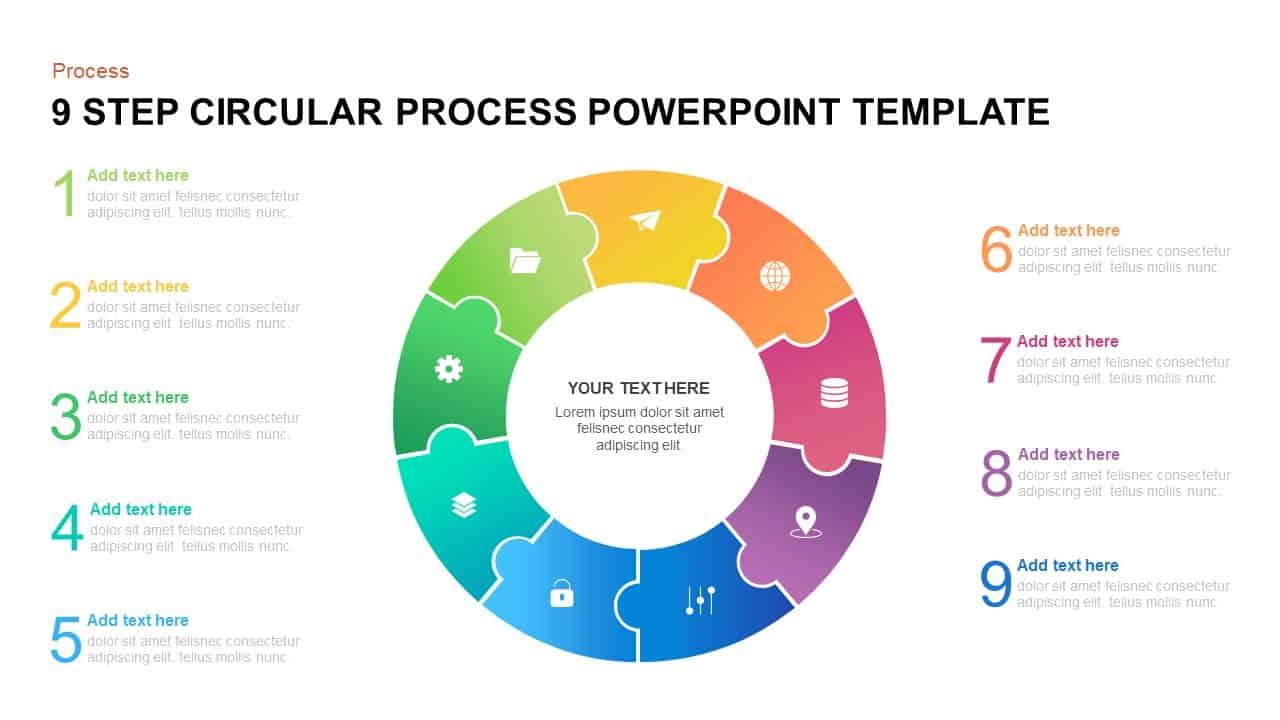 9 step circular process PowerPoint template