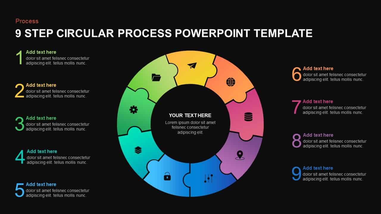 9 step circular process template for PowerPoint
