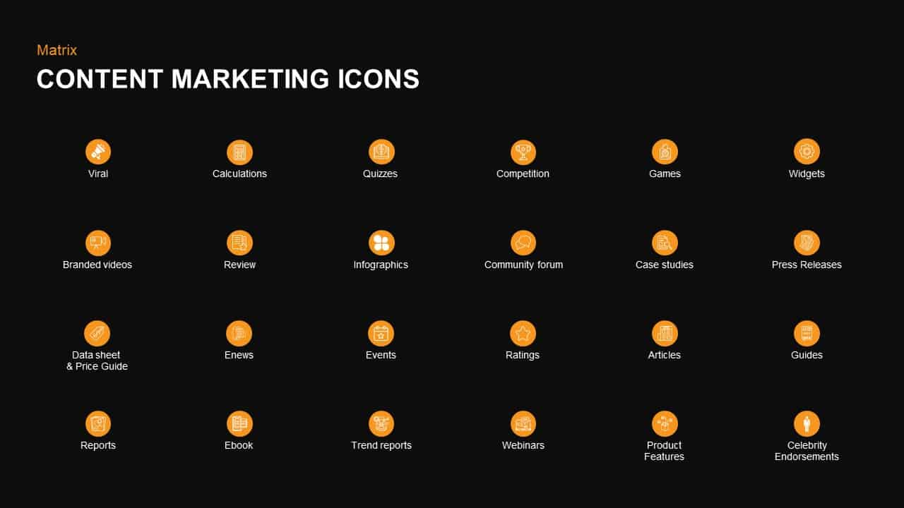 Content marketing matrix icons