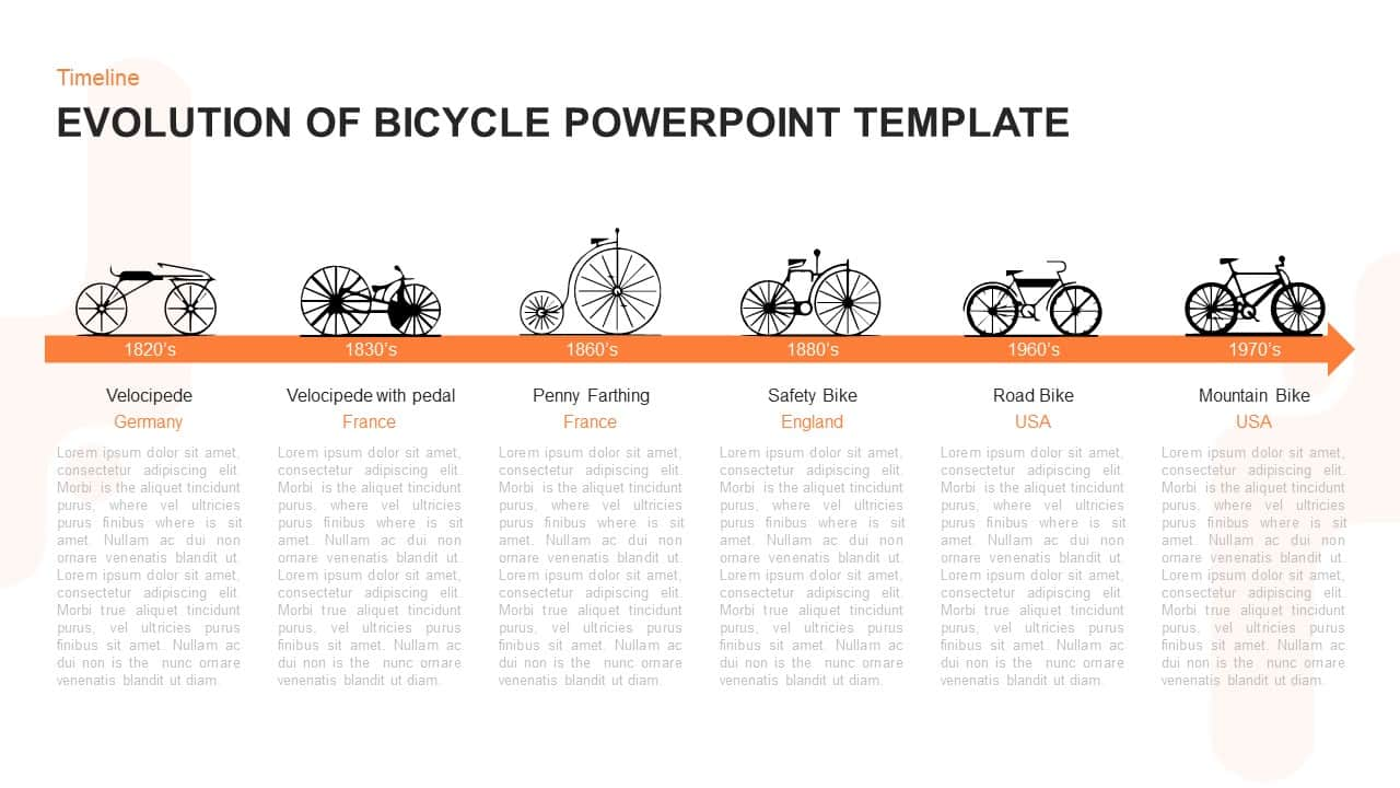 Evolution of Bicycle Timeline Template for PowerPoint