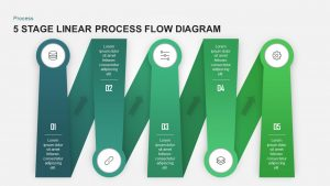 5 Stage Linear Process Flow Diagram for PowerPoint & Keynote
