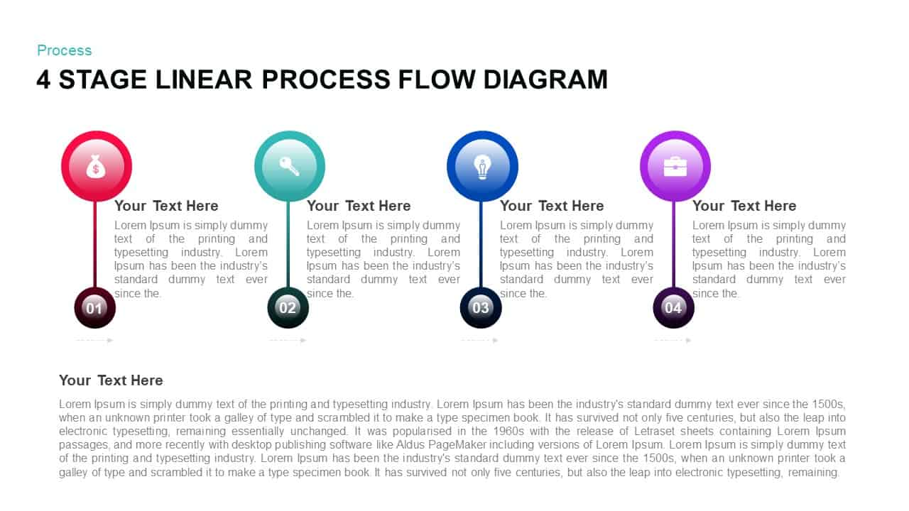 4 Stage Linear Process Flow PowerPoint Diagram