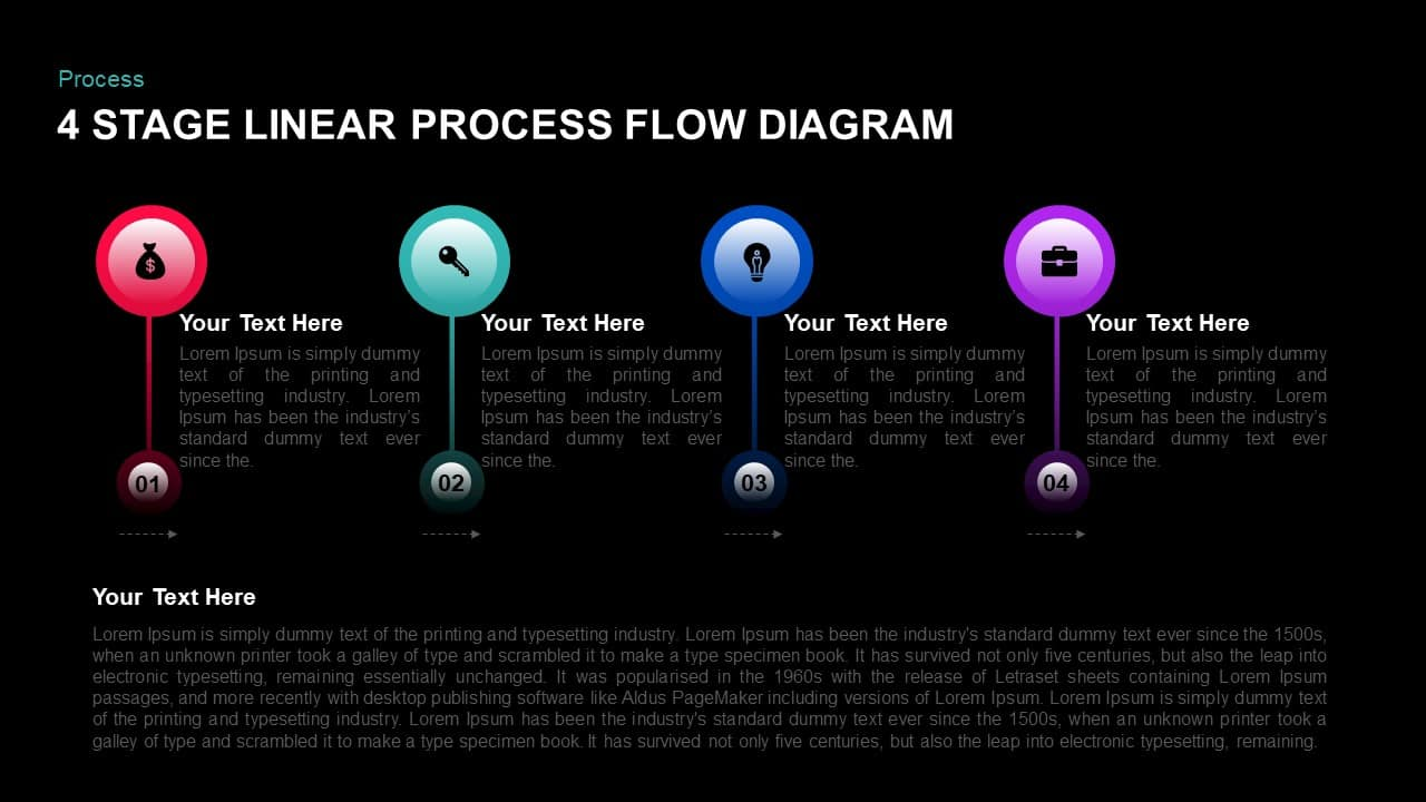 4 Stage Linear Process Flow PowerPoint Template