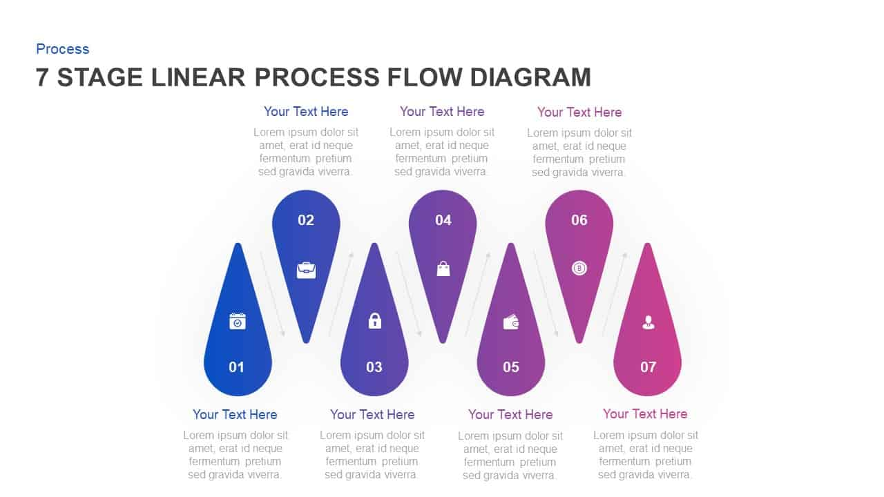 7 Stage Linear Process Flow Diagram PowerPoint Template