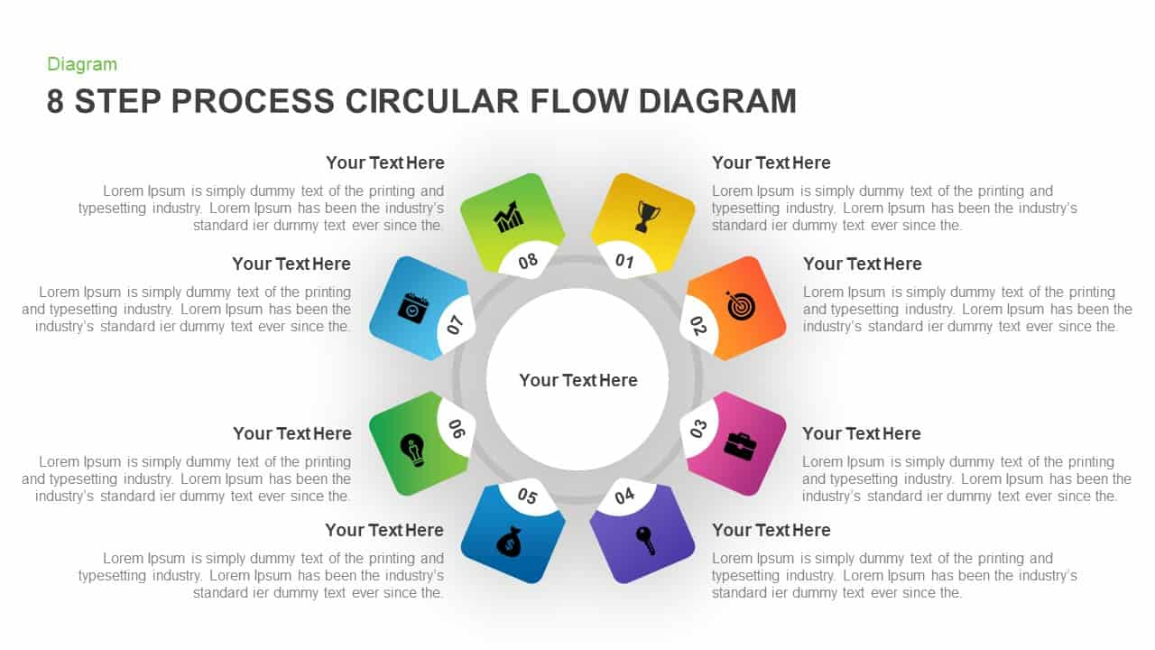 8 Step Circular Process Flow Diagram Powerpoint Template