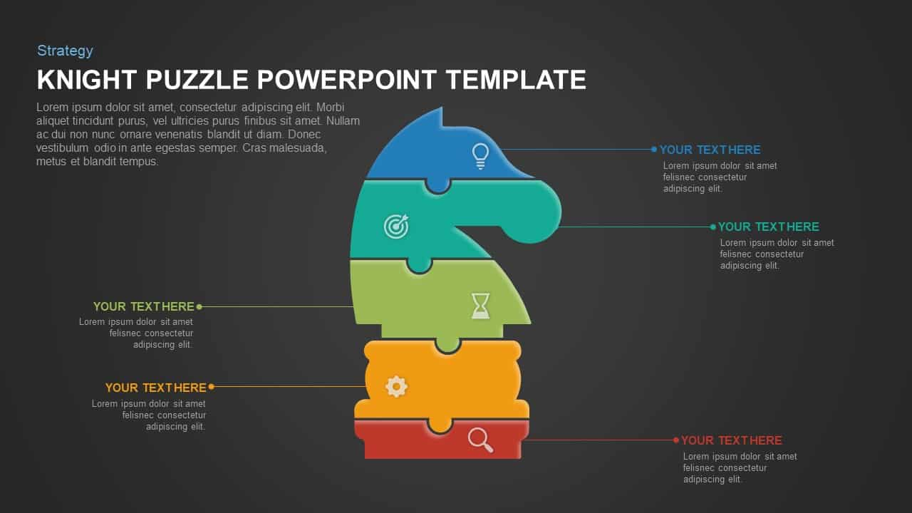 Knight puzzle template for PowerPoint