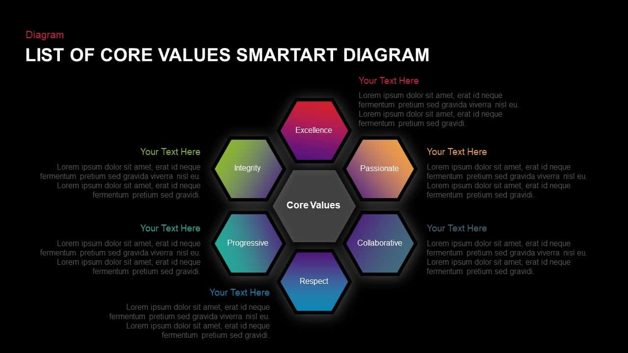 List Of Core Values SmartArt Diagram PowerPoint Template