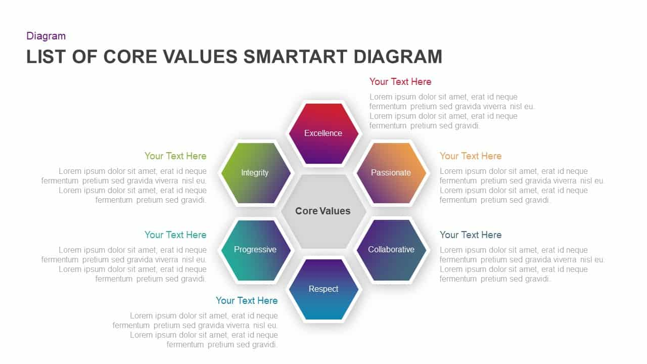 List Of Core Values SmartArt Diagram Ppt Slides