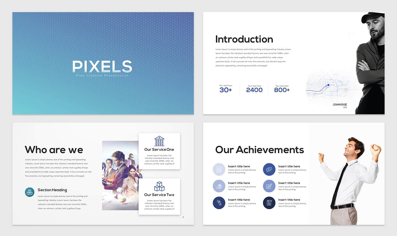 Pixels Free Creative Presentation PowerPoint Template
