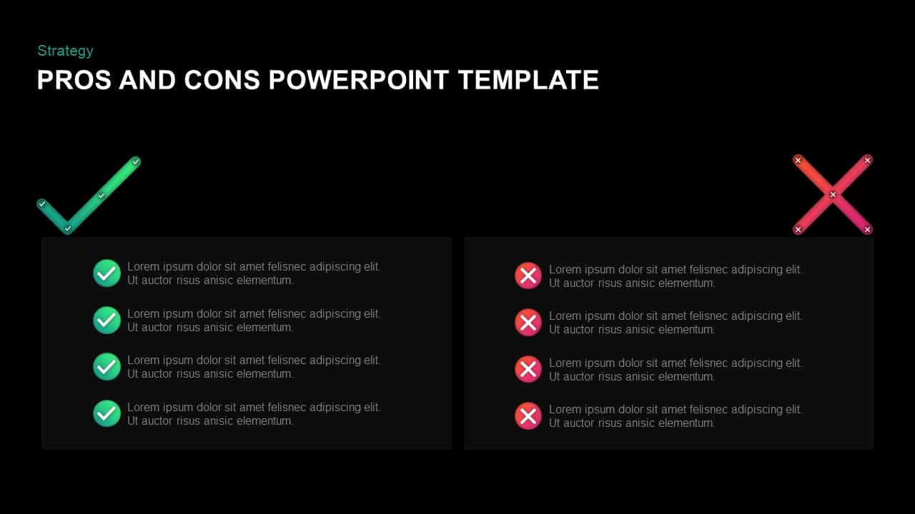 Pros and Cons Slide for PowerPoint