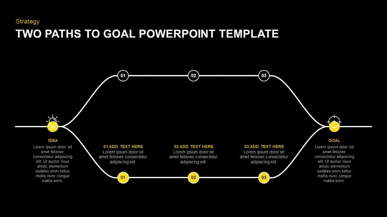 Two Paths to Goal Achievement PowerPoint Diagram