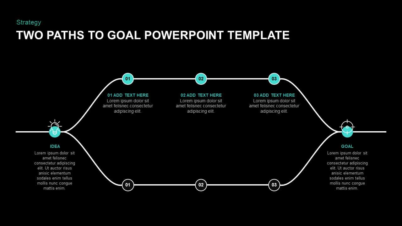 Two Paths to Goal PowerPoint Template