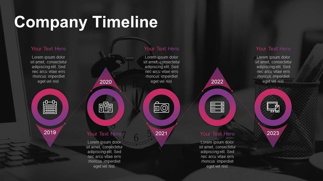 Business pitch deck template PowerPoint company timeline