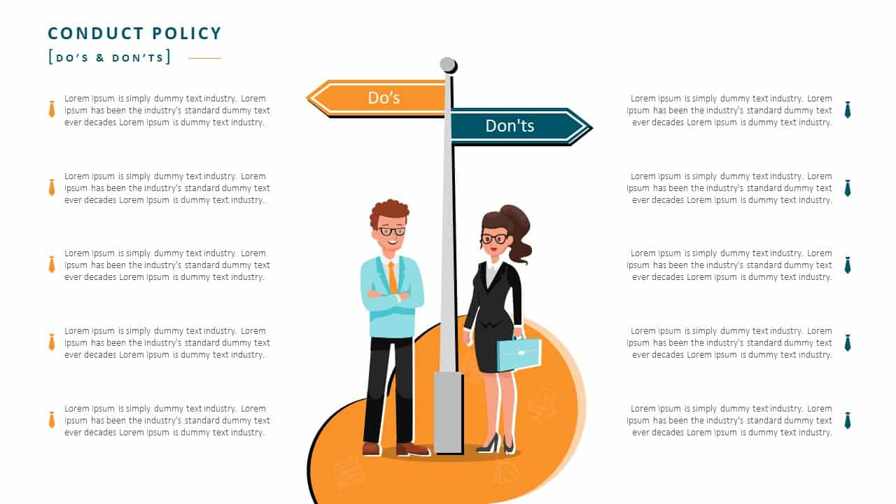 Employee Handbook PowerPoint Template Slide 7 Conduct Policy