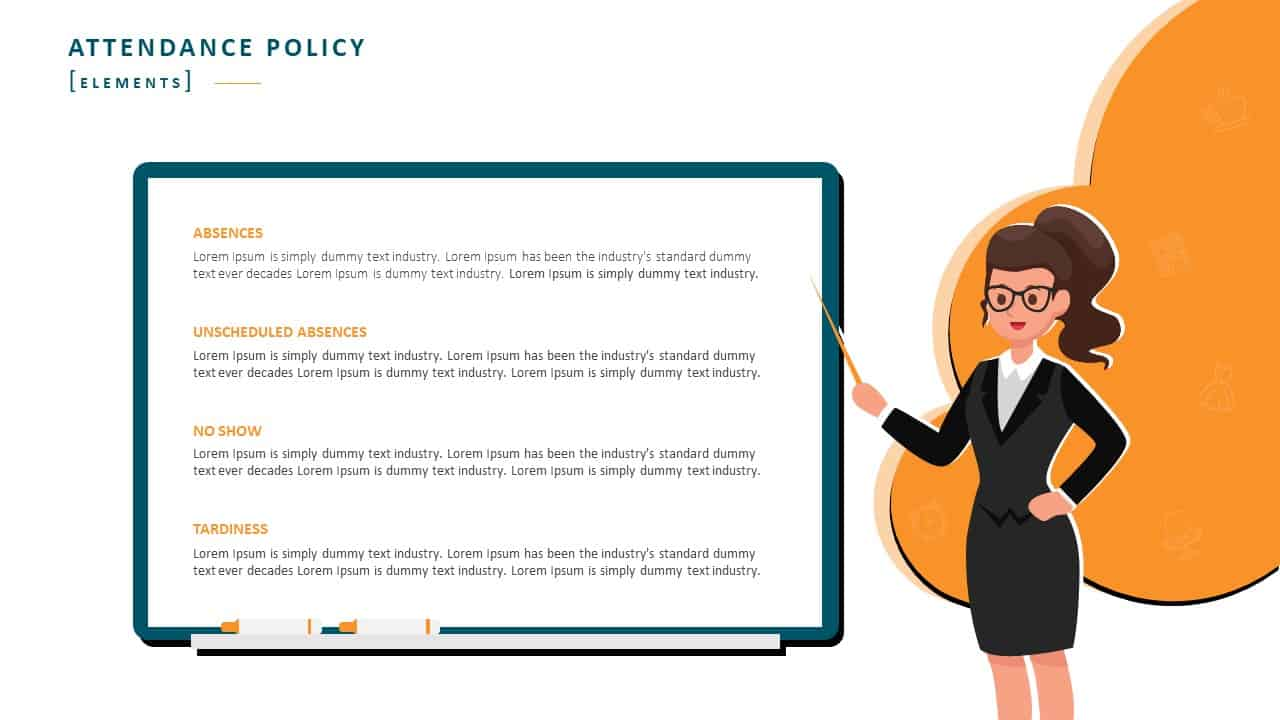 Employee Handbook PowerPoint Template Slide 9 Attendance Policy