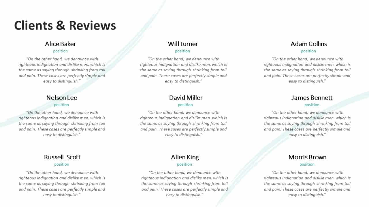 Investment Pitch Deck Clients and Reviews Template