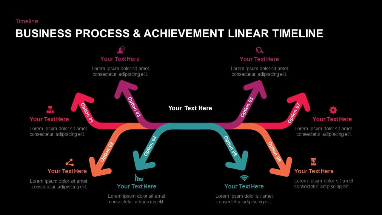 business process and achievement liner timeline PowerPoint template