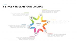 6 Stage Circular Flow diagram Template for PowerPoint