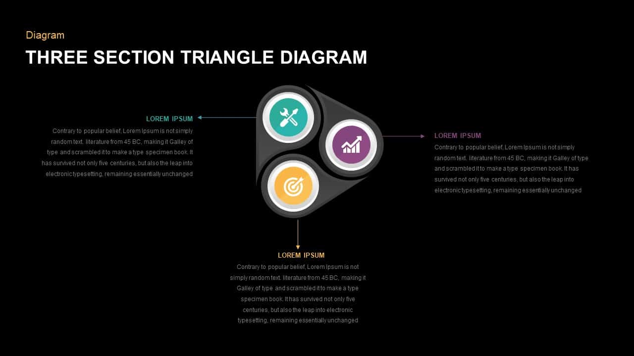 3 Section Triangle Diagram PowerPoint Template