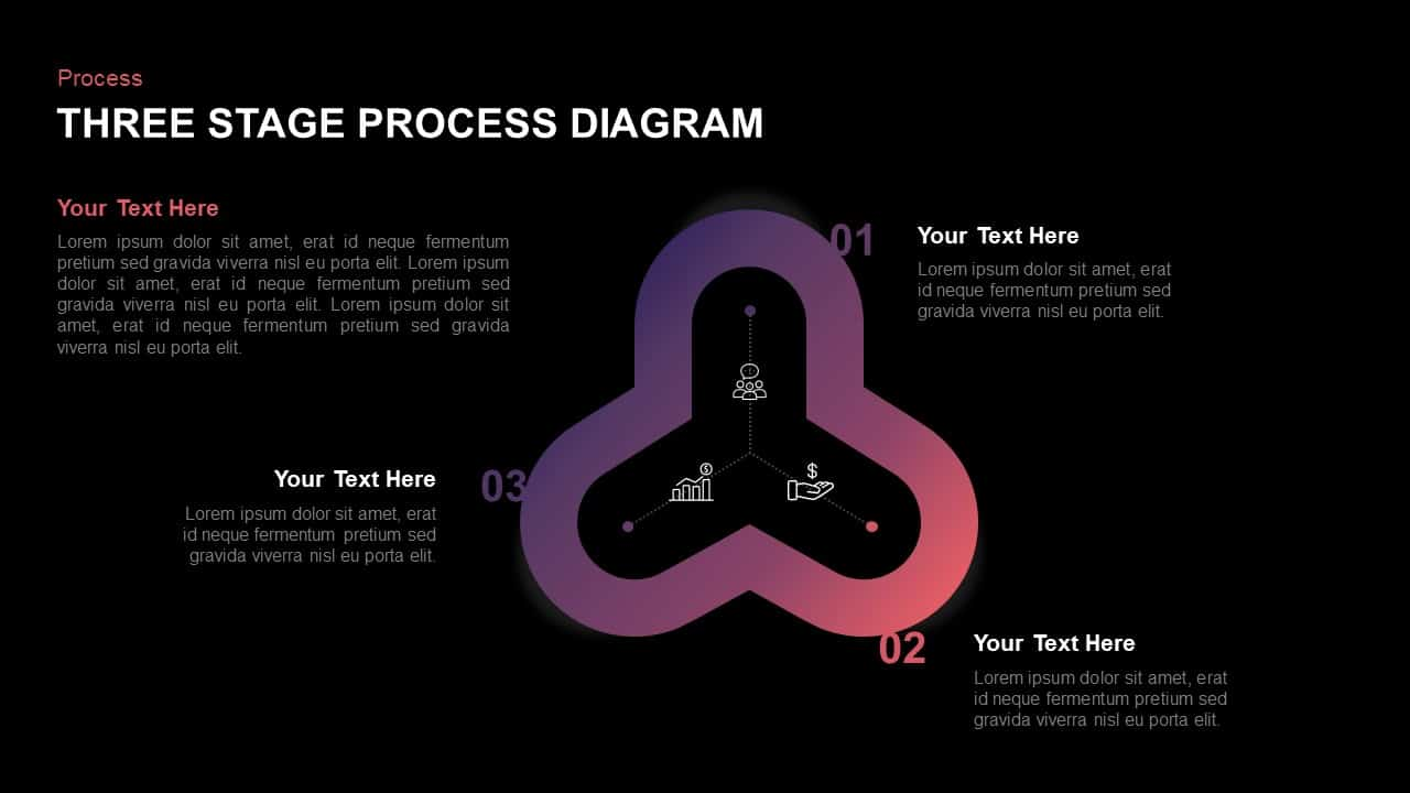 3 Step Process Diagram Template for PowerPoint Presentation