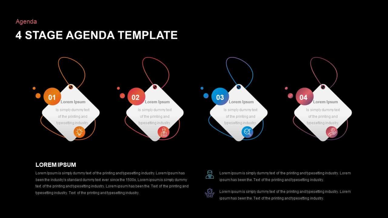 4 Step Agenda Ppt Template