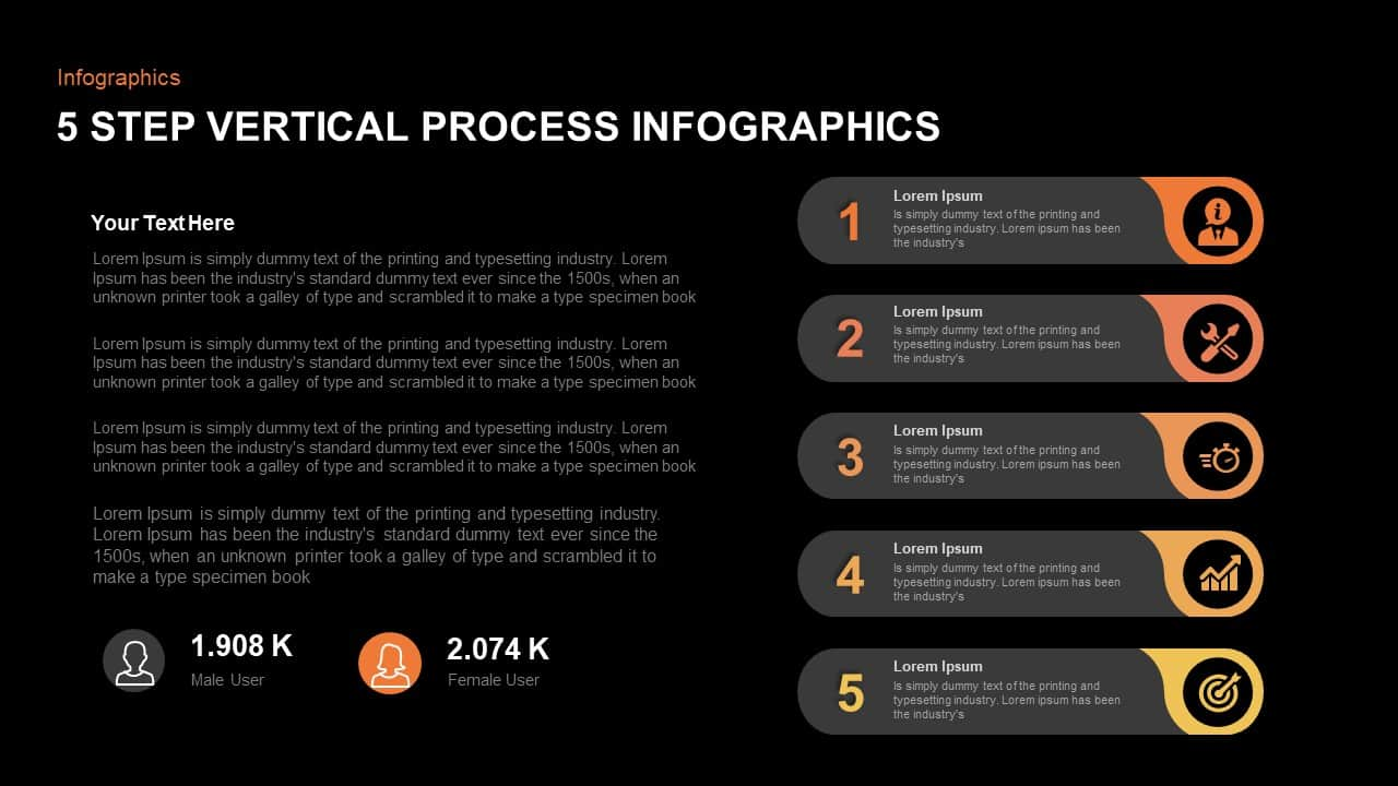 5 Step Infographic Vertical Process PowerPoint Template