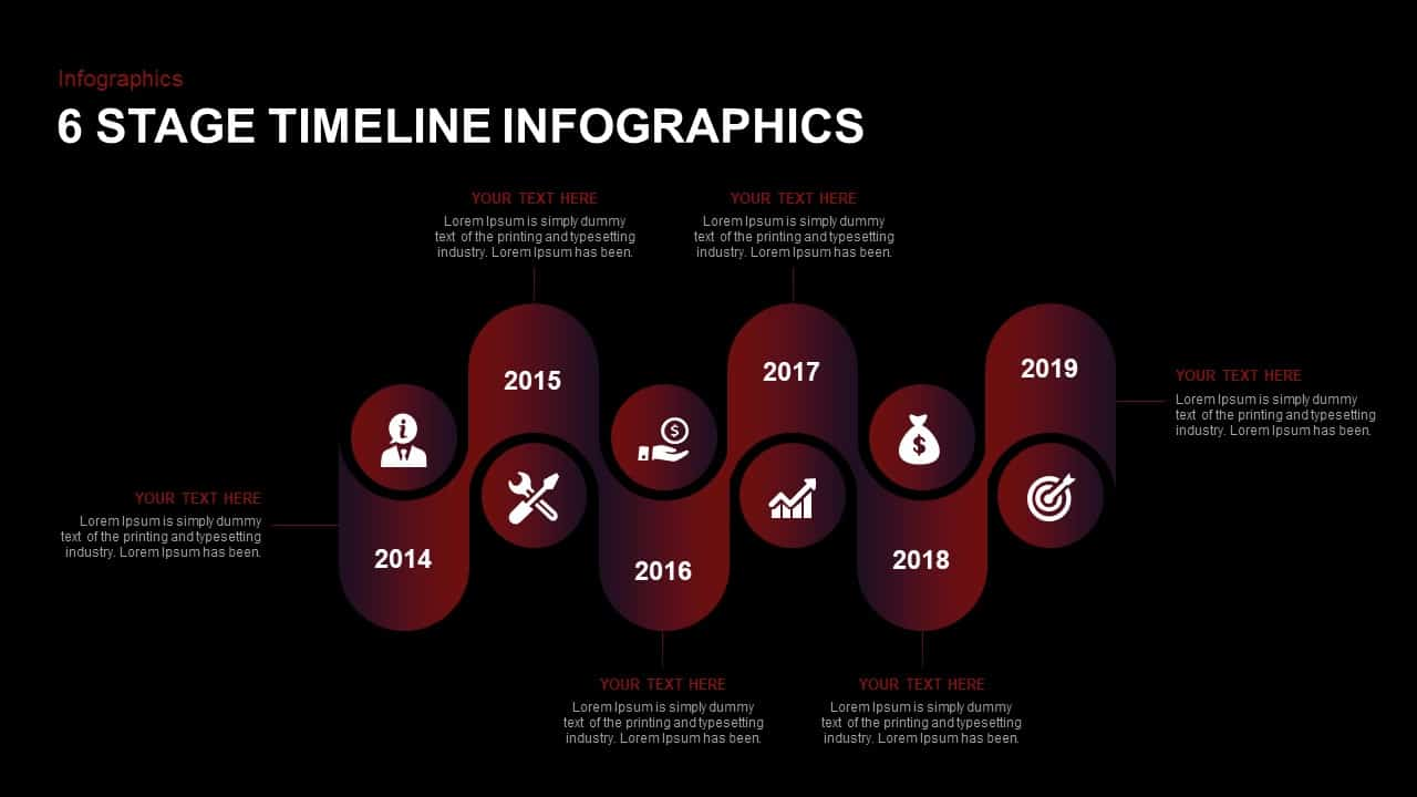 6 stage Infographic Timeline Template for ppt