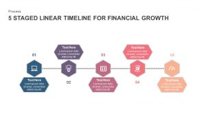 5 Staged Linear Timeline Diagram for Financial Growth