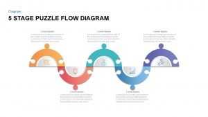 5 Steps Puzzle Flow Diagram for PowerPoint