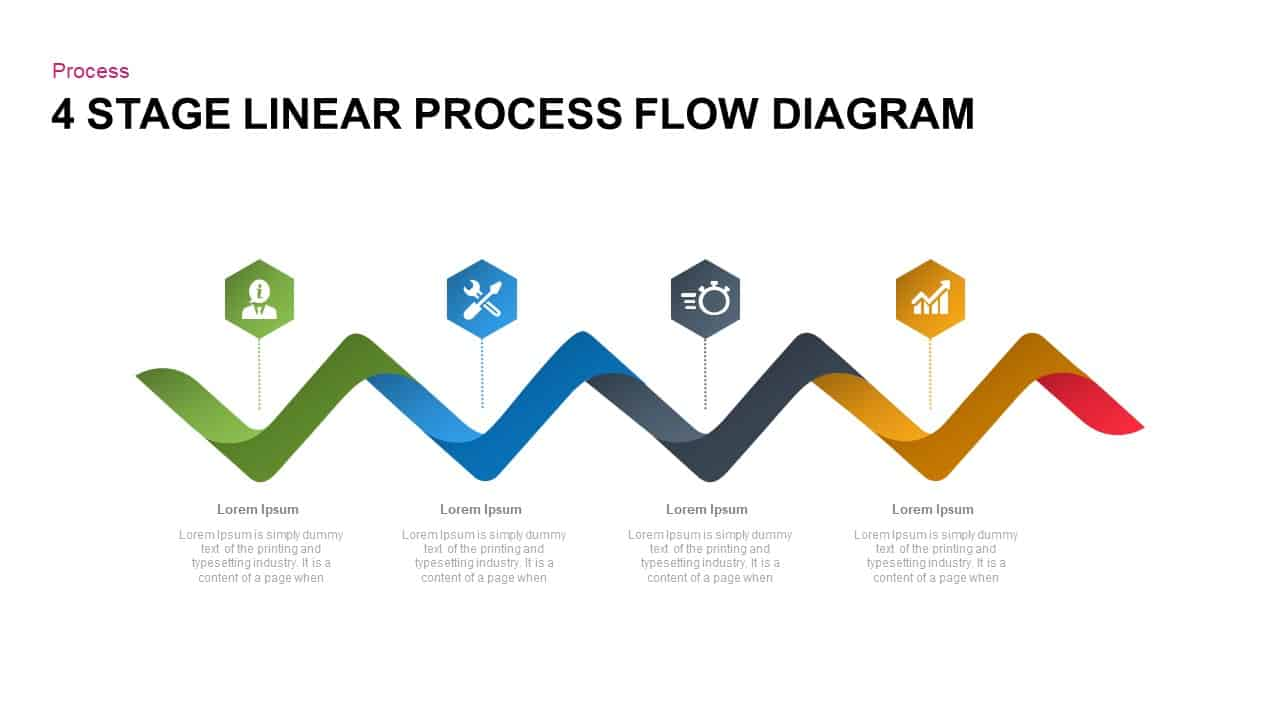 4 Steps Linear Process Flow Diagram For Powerpoint