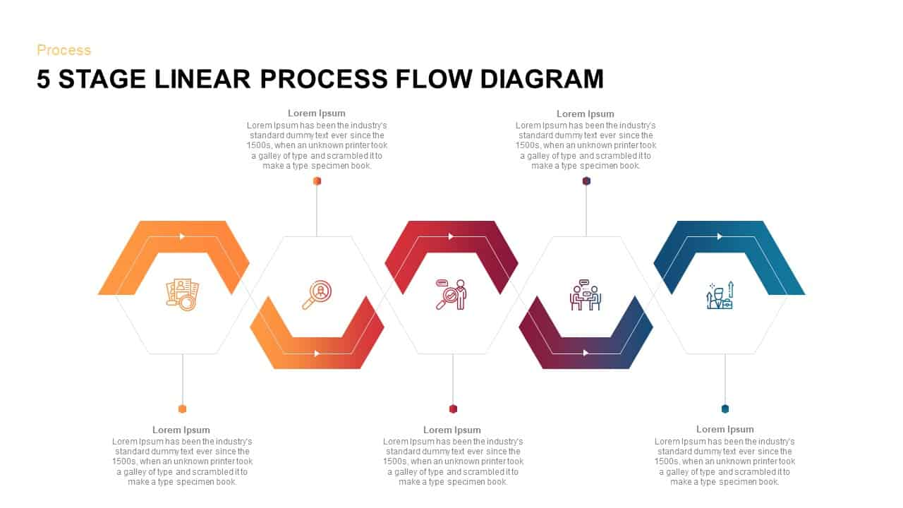 Download 5 Steps Linear Process Flow Diagram