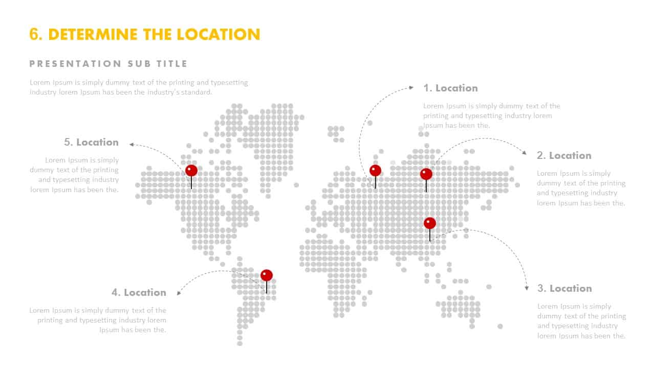 World Map Determine Location Template for PowerPoint