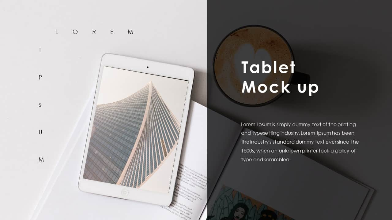 Business PowerPoint Presentation Template Tablet Mockup