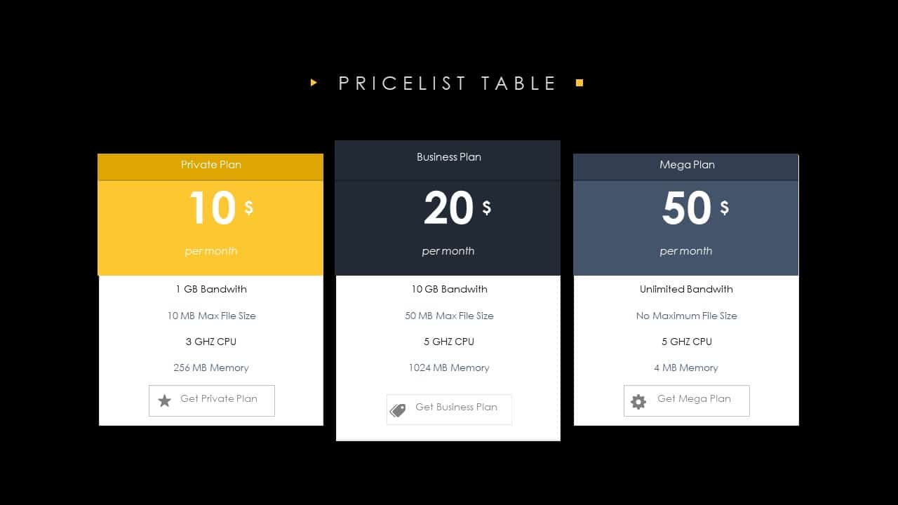 Price List Table PowerPoint Template