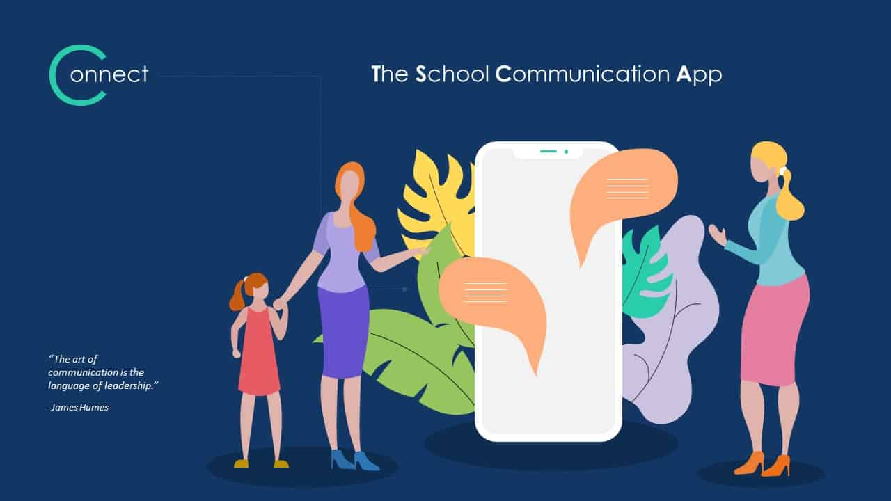 School Communication App Deck Template for PowerPoint